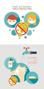 ウイルス対策にはマスクと手指消毒のイメージ図
