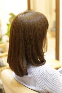 髪質改善カラーエステをしたミディアムヘア 金町の髪質改善専門店オーファ