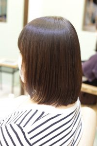 髪質改善ストレート(縮毛矯正)&カラーエステを施術した後の状態 金町の髪質改善専門店オーファ