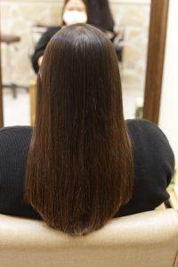 髪質改善ストレートエステを施術した後の状態ー髪質改善専門店オーファ