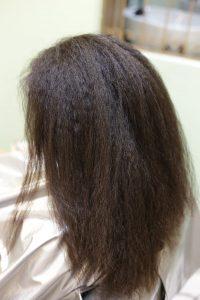 黒人級クセ毛を縮毛矯正かける前